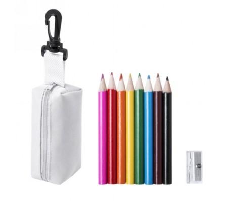 Migal tolltartó mini ceruza készlettel, fehér