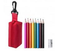 Migal tolltartó mini ceruza készlettel, piros