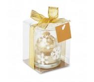 Üveg gyertyatartó teamécsessel, arany
